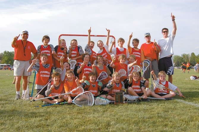 Steamboat Springs' winning sixth-grade lacrosse team celebrates after the end of the 14th annual Warrior Rocky Mountain Lacrosse Jamboree last weekend. Front row from left: Kyle Cordell, Kaleb VanArsdale, Patrick Milne, Bobby Elliott, Harrison Smith and Max Parsons. Middle row from left: Peter White, Trent Trask, Danny Kramer, Grant Verploeg, Nick Sear and Dillon Chapman. Back row from left: Coach Billy Atkinson, Andrew Hitchcock, Jackson Perry, Ben Wharton, Connor Glynn, Erik Sobeck, Quinn Cain, Zach Sperry, Coach Brian White and Denver Outlaws midfielder Jeff Sonke