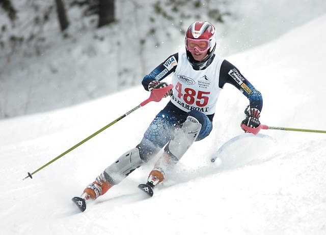 Steamboat Springs' Jenny Allen races down the slalom course in Bashor Bowl during a high school ski race. Allen will ski for the University of Colorado next season.
