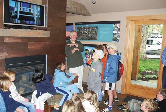 Fourth-graders from Strawberry Park Elementary School quizzed downtown developer Jim Cook of Colorado Group Realty on Wednesday about their changing community. Under the direction of teachers Diane Maltby and Barb Gregoire, the students are using a grant from the Legacy Foundation to create a multimedia documentary on the subject.