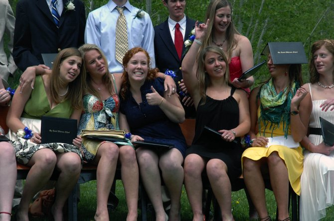 Members of The Lowell Whiteman School's Class of 2008 share a moment after graduation Saturday. From left are Molly Leonard, Emily Polster, Lauren Ventrudo, Sophie Leonard, Whitney Holtan and Caitlin Colgan.