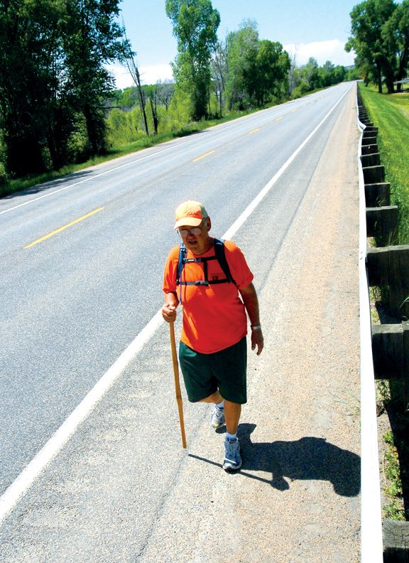 Rick Hammersley, now retired, heads east on U.S. Highway 40 on Monday afternoon. On April 1, Hammersley began his 3,700-mile cross-country trek from the San Francisco area. He hopes to reach New York City, his final destination, in October.