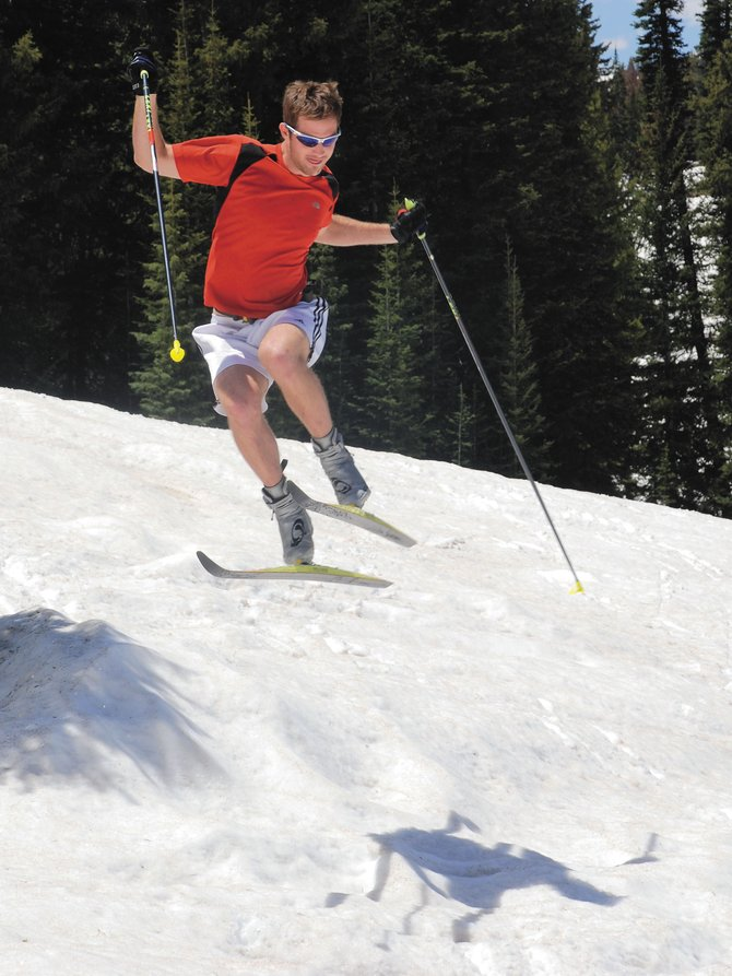 Austin Ross celebrates Father's Day on Rabbit Ears Pass on a borrowed pair of skis; thus reducing his carbon footprint.