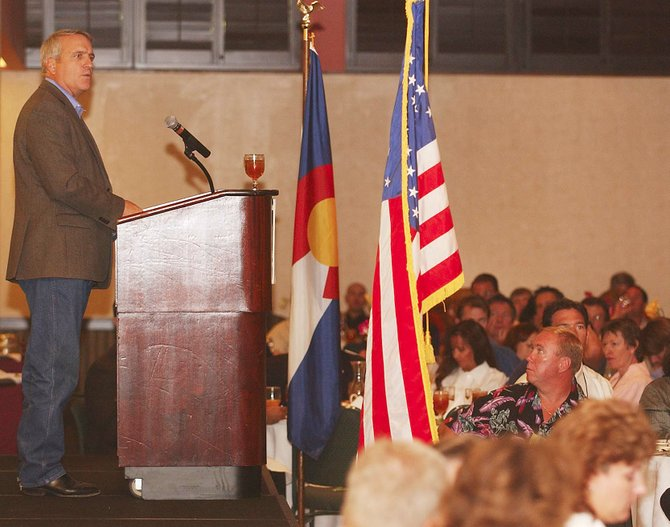 Colorado Gov. Bill Ritter speaks to an audience during a Colorado Municipal League conference Thursday at the Sheraton Steamboat Resort.