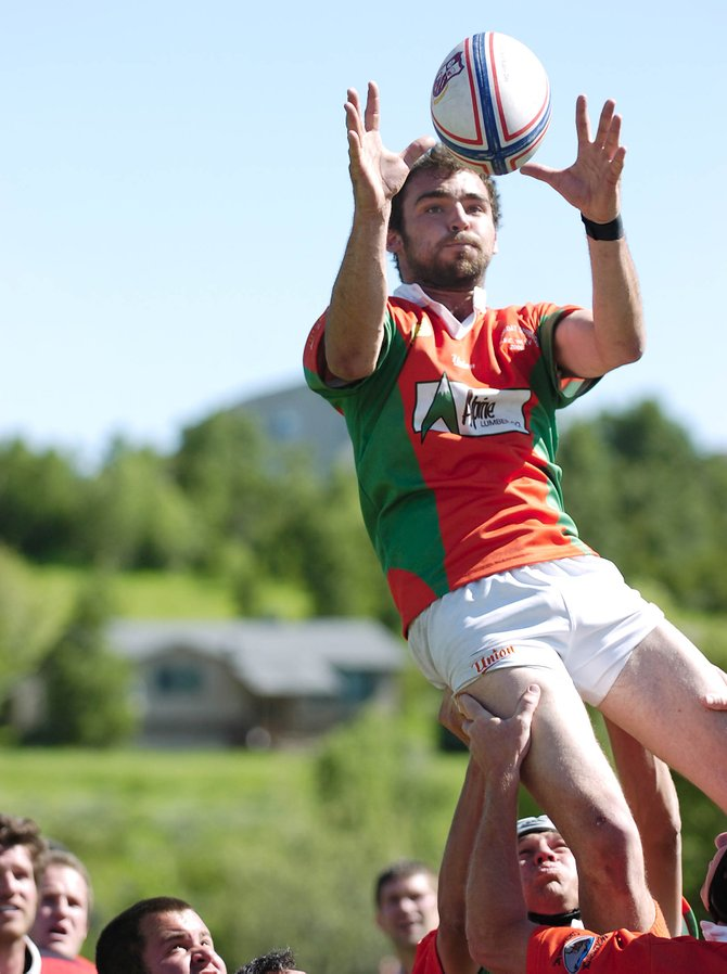 Steamboat Springs rugby team flanker Erik Wernig catches a ball from a line-out Saturday at Gardner Field. Steamboat beat Aspen, 20-17.