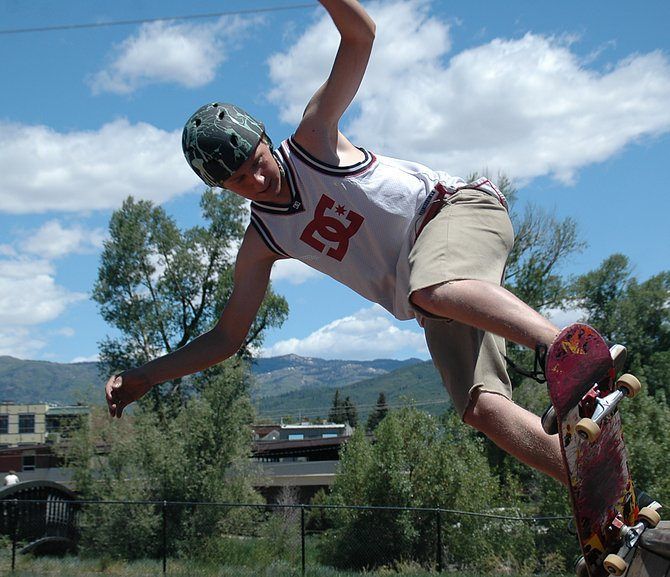 Zack Carter competes Saturday in the Click Summer Skateboard series at the Howelsen Hill skatepark in Steamboat Springs. The 19-year old skater moved to Steamboat from Los Angeles during the winter to snowboard, but he plans to stay for the summer months.