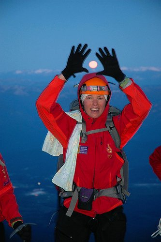 Dr. Rosanne Iversen frames the full moon while ascending the west face of Mount Shasta on June 19.