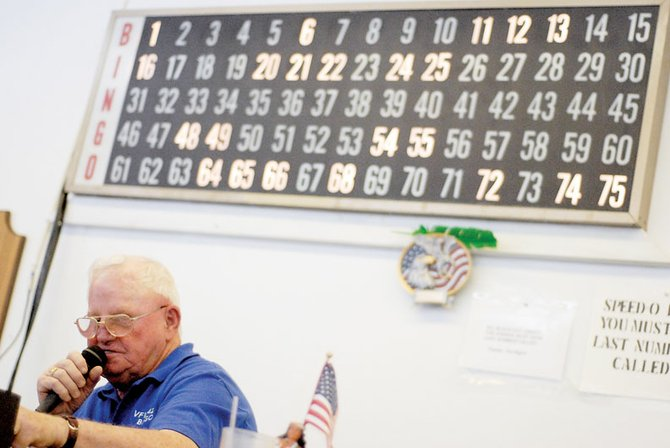 Jim Meineke calls numbers at Sunday's Veterans of Foreign Wars Post No. 4265's weekly bingo game.