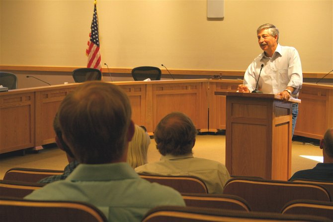 Rep. John Salazar spoke to about a dozen local policy makers during a question and answer session at Centennial Hall Wednesday morning. 