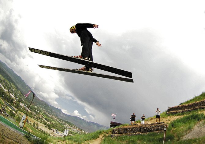 Utah ski jumper Kyle Lockhart takes flight at Howelsen Hill on Wednesday afternoon. Lockhart was in Steamboat Springs training and preparing for this Friday's ski jumping competition.