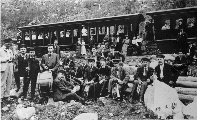 A band sits along the railroad, known as the Moffat Road, in Northwest Colorado in this undated photo.