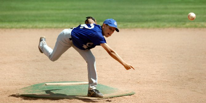 Phillip Chadwick tosses a third strike Monday at Woodbury Sports Complex against visiting Steamboat Springs. Chadwick, a starting pitcher for the Craig Mad Dogs all-star baseball team, struck out five Sailors in two innings of work.