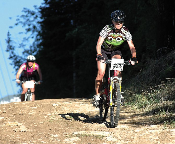 Kelly Stamp, No. 422, reaches the end of the women's sport division of a previous Town Challenge Mountain Bike Race series. The mountain biking series returns today with the Emerald Cross Country at Howelsen Hill. Children's races start at 5:30 p.m. with adult races beginning at 6 p.m.