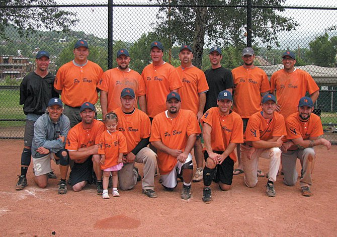 The members of the men's E Championship Softball Team includes, from the back row from left: Kenny Loose, Rob Satterwhite, Shane Winder, Tim Frentress, Shane Camilletti, Bryan Baker, Russ Hill and Jeff Worst. The front row, from left, includes Joey Rind, Jeremy Haptonstall and daughter Jericah Haptonstall, Josh Lemon, Manny Madrid, Ray Valente, Jeremy Soldberg and Sean Brian. The team dedicated last weekend's tournament run to Steve Ivers, who lost his battle with cancer in May.