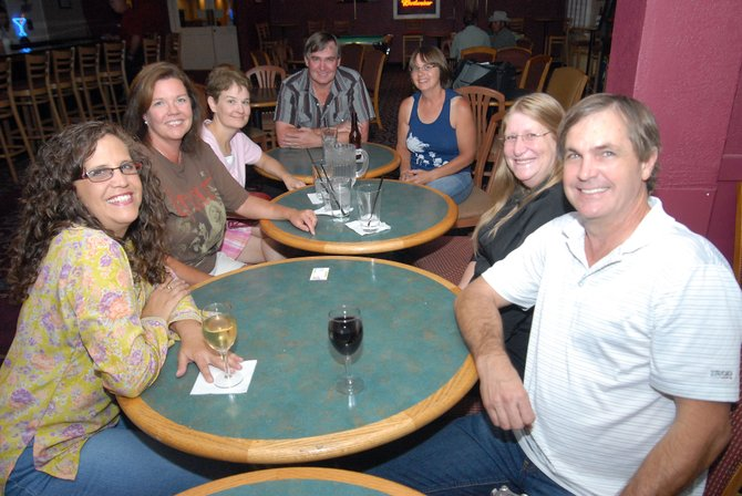 Members of the Moffat County High School Class of 1978 started their 30th reunion Friday at Cassidy's. They promised there would be more coming to join them. Pictured is, clockwise from front left, Siouxanne (Herod) Mease, Saundra Sweeney, Jan (Stehle) Leonard, Walter Bohrer, Vicky (Coty) Slaight, Cynthia Reynolds and Scott Shepherd.