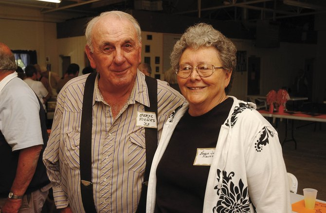 Bessie Jo Rienks and her husband, Beryl, attend a class reunion in Hayden on June 14. Bessie Jo is retiring from the Solandt Memorial Hospital district after being the bookkeeper for 47 years.
