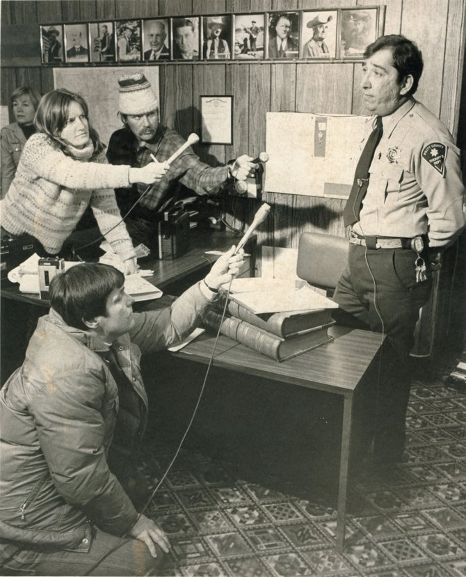 Acting Sheriff Phil McPherren greets the media in the wake of the resignation of Sheriff Nick DeLuca in January 1982.