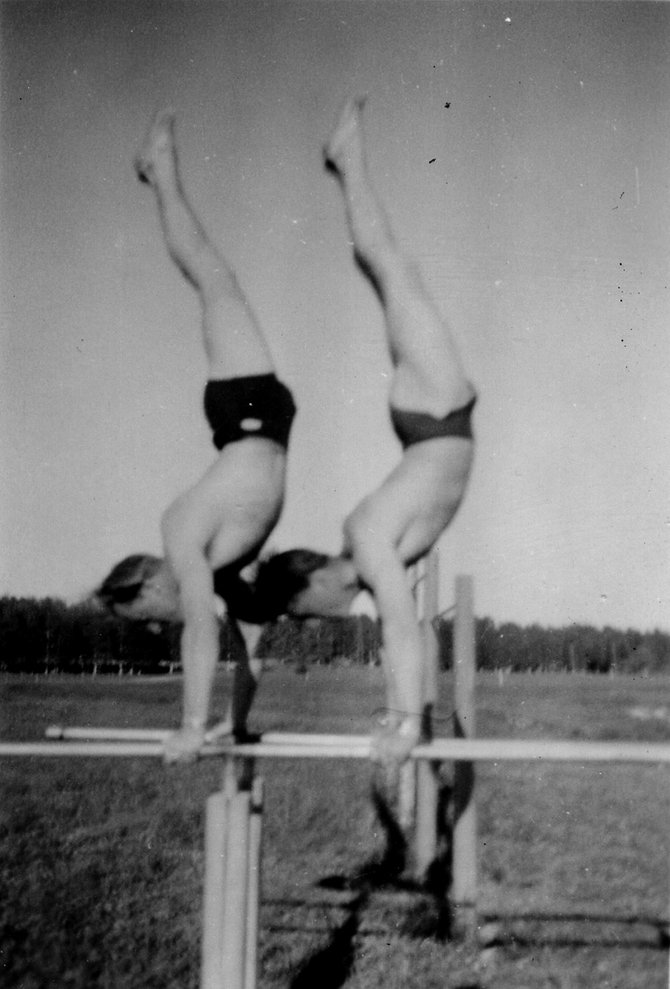 Sven Wiik, left, practices the parallel bars with teammate Inguar Anderson prior to the 1948 Olympic Games in London.