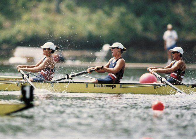 Anne Kakela, seated to the far right, competes at the 1996 Summer Olympic Games on Lake Lanier. Kakela and her teammates finished a disappointing fourth, but she walked away from the games with treasured Olympic memories and an improved perspective on life.