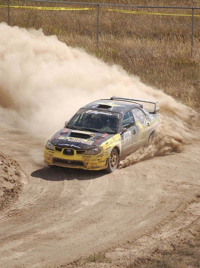Tanner Foust takes a turn at the Superspecial stage during the 2007 Rally Colorado.