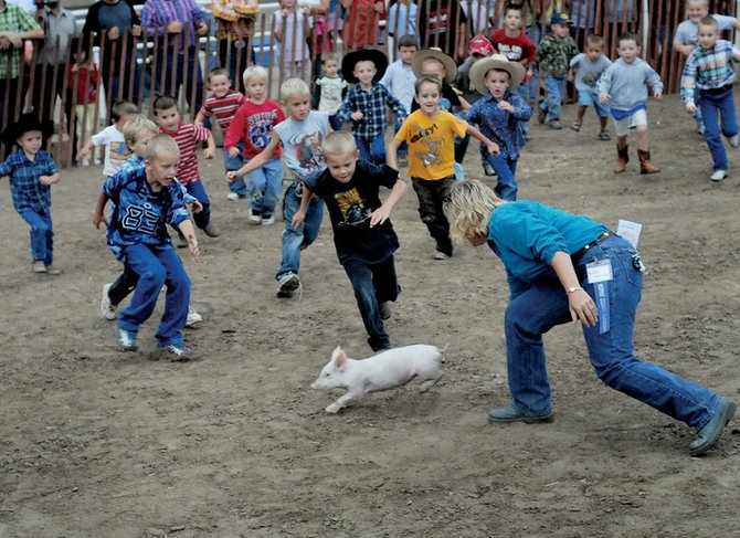 Boys 6 and younger race toward their prize in the greased pig contest Thursday night at the 90th annual Moffat County Fair. Winners of the contest were allowed to keep their catch.