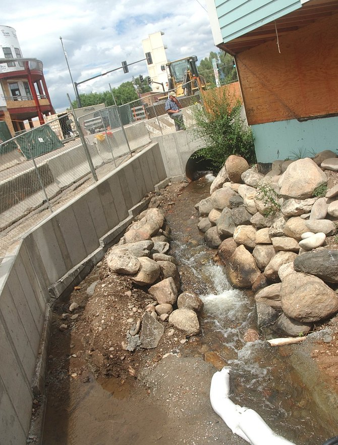 Improvements being made to Butcherknife Creek in front of what soon will be The Ghost Ranch Saloon has resulted in the closure of Seventh Street between Lincoln Avenue and Yampa Street.