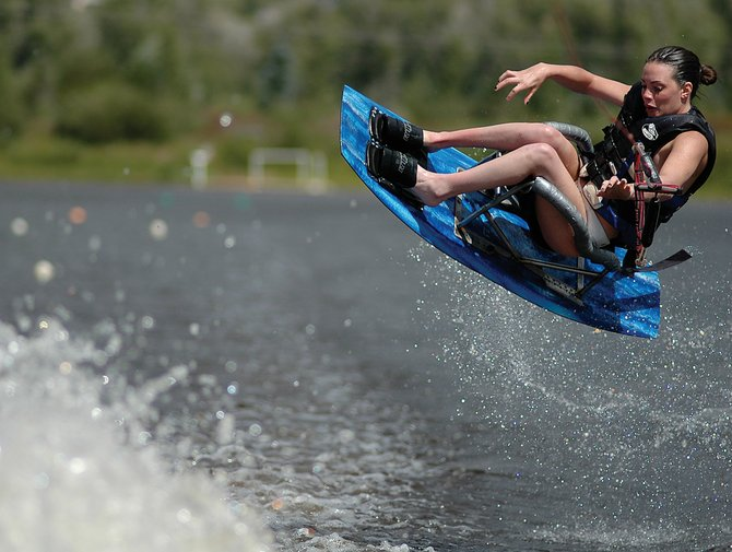 Joy Rondeau had no trouble getting air Wednesday afternoon at Bald Eagle Lake in Steamboat Springs. Rondeau was born with cerebral palsy, but she didn't let that slow her down as she tried out her adaptive wakeboard all the way across the wake behind the ski boat.