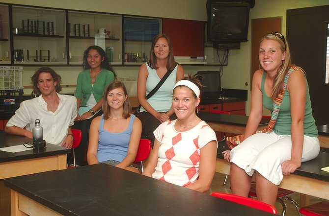 Several new teachers who gathered Wednesday in a Steamboat Springs Middle School classroom agreed affordable housing provided by the school district would make Steamboat a more attractive place to teach. Pictured, from left, are new teachers Braden Wilson, Julia Ortiz, Jenn Spurlock, Robyn Albertini, Mindy Mulliken and Erin Dargis.   