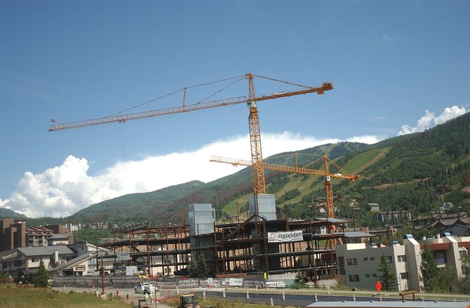 Steamboat Springs officials say construction and redevelopment at the base ski area are contributing to lower sales tax revenues.