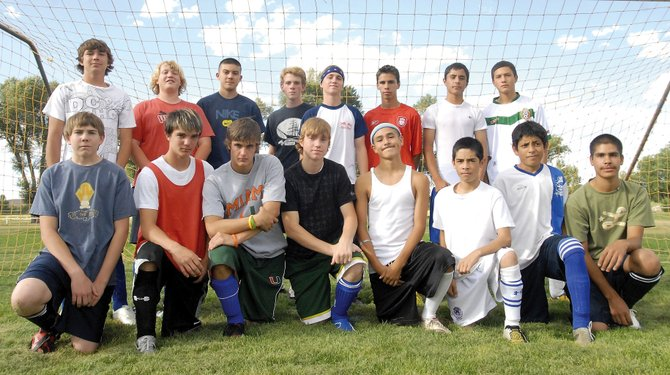 The 2008 Moffat County High School boys soccer team is, front row, from left: Brandon Duncan, Dustin Carlson, Spencer Wayman, Cole Dubois, Victor Villa, Jorge Gonzalez, Johnny Landa and Manuel Tarango; back row, from left: Nick Glispy, Craig Toovey, Fernando Duarte, Daniel McClellan, Ian Forgay, Tracy Mendoza, Miguel Molina and Jonathan Pando. Not pictured: Jonathan Lee, Caleb Lee, Inez Quezada, Adrian Hernandez and Felipe Nunez.