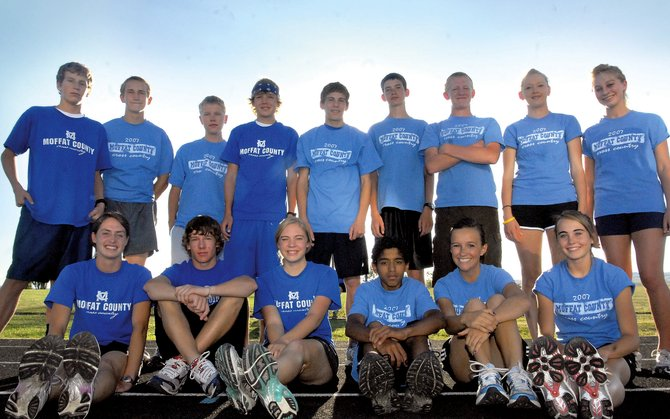 The Moffat County High School cross-country team. Front row, from left: Alicia Nelson, Colt Criswell, Laura Zirkle, Alfredo Lebron, Nike Cleverly and Maddy Jourgensen. Back row, from left: Kye Adams, Corey Wojtkiewicz, Kevin Murray, Jimmy Howe, Chris Zirkle, Jarred Blevins, Charlie Griffiths, Britteny Ivers and Callie Papoulas. Not pictured: Megan Knez.