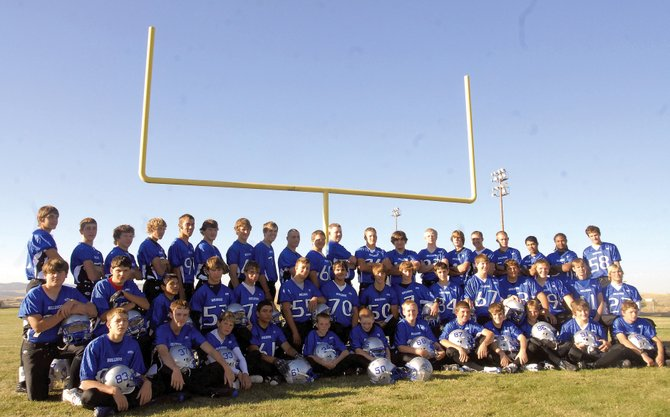 Members of the Moffat County High School football team. Front row, from left: Cody Rogers, Bobby Kyle, Jake Blevins, Luis Garcia, Gage Hall, Pat Thompson, Thomas McCoy, Wesley Chapman, Mason Updike, Wyatt Villa, Zach Hansen and Brent Juergens. Middle row, from left: Steven Wagner, Andy Browning, Kyle Martinez, Taylor Bangs, Aaron Nielson, Dario Georgiou, Koy Bohrer, Jayson Edge, Braedon Sullivan, Dustin Willey, Adam Foster, Keith Scott, Garrett Spears, Matt Spears, Matt Linsacum and Nathan Tomlin. Back row, from left: Chet Harvey, Nathan Chapman, Jason Kettle, Alex McCoy, Frank Archuleta, Brian Ivy, CJ Walt, Cody Adams, Lyle Schaffner, Gage Spears, Josh Wilde, Jeremiah Gordon, Halen Raymond, Scott Mann, Brady Conner, Angelo Raftopoulos, Hunter Zellers, Pablo Salcido, KC Martin and Jordon Wilson. Not pictured: Russell Walsh, Jerod Stillwell, Justin Benedict and Todd Stewart.