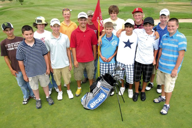 Members of the Moffat County High School golf team. Front row from left: Wesley Whiffen, Parker King, Nick Moyer, Mark Dockstader, Ty DeGuelle, Taylor Branstetter and Trey Jourgensen. Back row from left: Colby Haddan, Erick Leonard, John Strahan, Jake Steele, Alex McKey, Eli Voyich and Ethan O'Mailia.