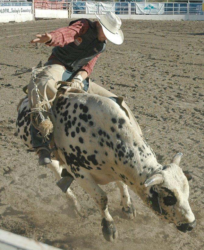 "Greeley's Josh Ehlers rides Wild Cat Kalsen in the opening ""long go"" round of the 2007 Rocky Mountain Bull Bash at the Brent Romick Rodeo Arena."