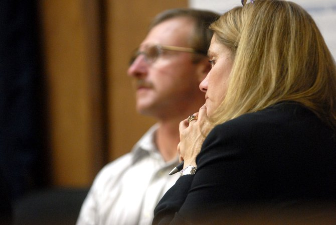 Pamela Mackey, right, listens to the reading of Rodney Culverwell's verdict about 10:15 p.m. Friday. She said it is a positive sign for ranchers that her client was not convicted of shooting any elk stuck in his hay fences, but she also was saddened for Culverwell's future.