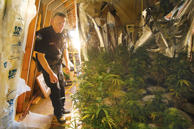 Routt County Sheriff's Office Dep. Clark Kreger checks out a small room used to grow marijuana in the garage of a home in the 28100 block of Routt County Road 41A in the Hilton Gulch area south of Steamboat Springs. Kreger and Dep. Shawn Hockaday uncovered the operation after the homeowner, who was renting out the property, alerted law enforcement officers.