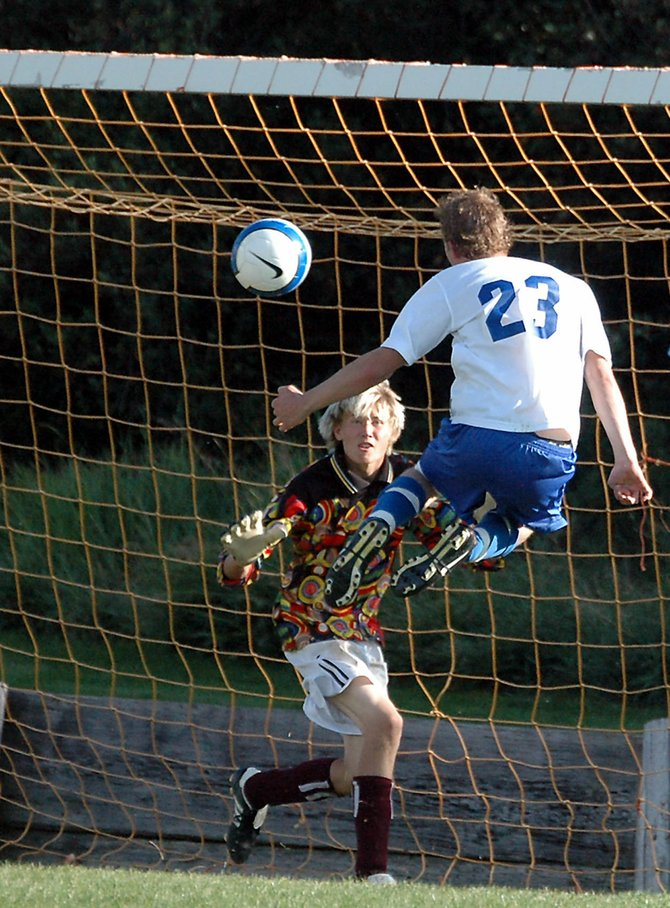 Moffat County High School senior Ian Forgay scores on a header Friday against Palisade. MCHS picked up its first victory of the season, a 4-0 shutout.
