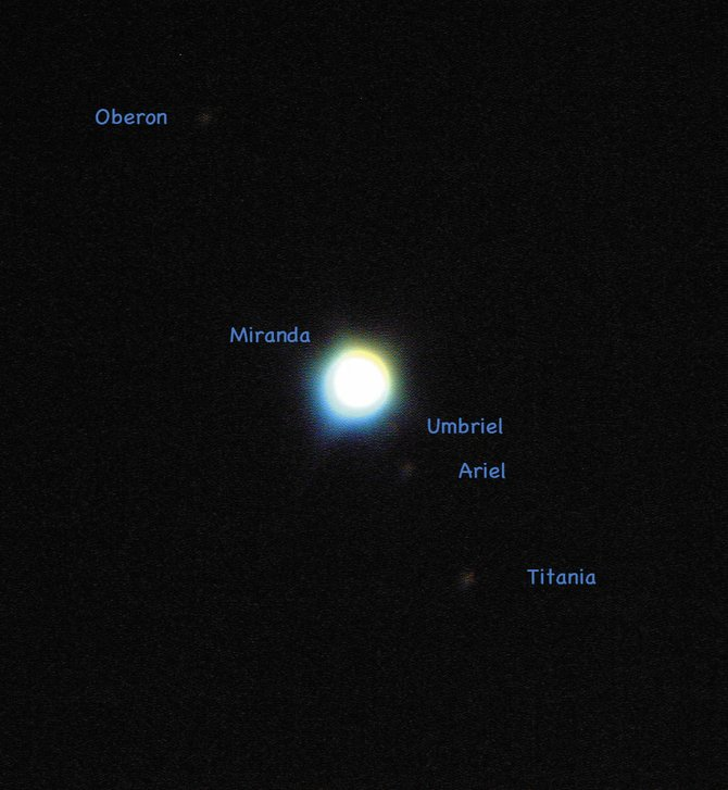 The planet Uranus and its five largest moons were imaged together through the historic 60-inch telescope at Mt. Wilson Observatory near Pasadena, Calif., on Nov. 17, 2007.
