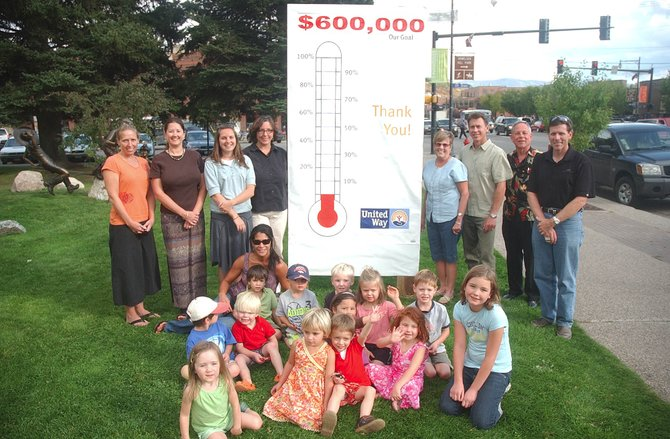 Routt County United Way members display their giant thermometer tracking this year's fundraising goal of $600,000. Last year, the group raised $590,000 for health and human services in Routt County.