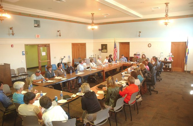 People attend the First Impressions of Routt County candidates forum Wednesday at the Routt County Courthouse. Candidates discussed issues affecting children and families in Colorado.