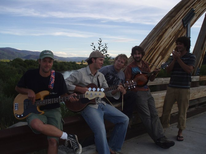 Local rock/folk/bluegrass outfit Missed the Boat - pictured, from left, Brian Joyce (bass), Ryan Cox (guitar, vocals), Pat Waters (drums), Andrew Henry (mandolin, vocals) and Peter Hall (harmonica, vocals) - plays a free show Saturday at Mahogany Ridge.