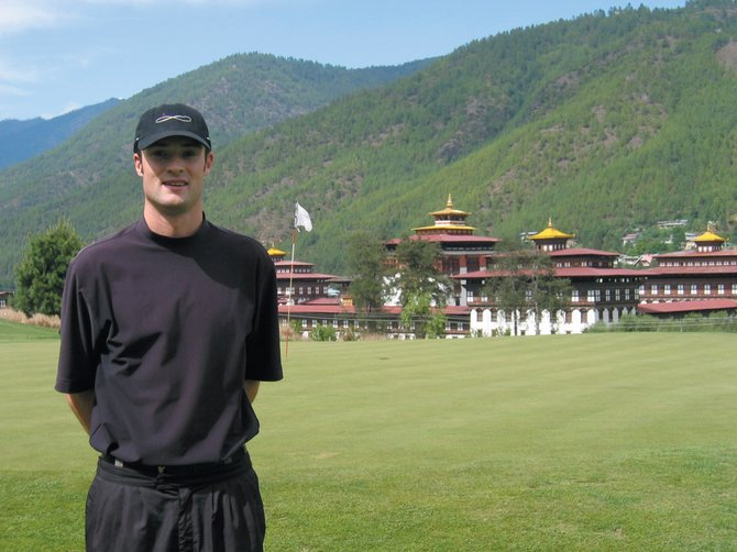 Luke Brosterhous stands near a green at the Royal Thimpu Golf Club in Bhutan in the summer 0f 2007. Brosterhous earned a shot to play with a group of other top pros from Colorado in October as part of the PGA's Western Chapter Match Cup.