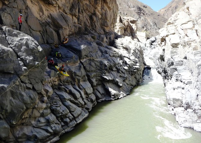 Steamboat's Eugene Buchanan prepares to drop into Peru's Colca Canyon in his kayak late last month. Buchanan traveled to Peru with an expedition that had hoped to trek 20 miles of the canyon that never had before been traveled. The group, consisting mostly of Polish explorers, made it six miles, but they had to climb out after food and supplies ran low on the sixth day.