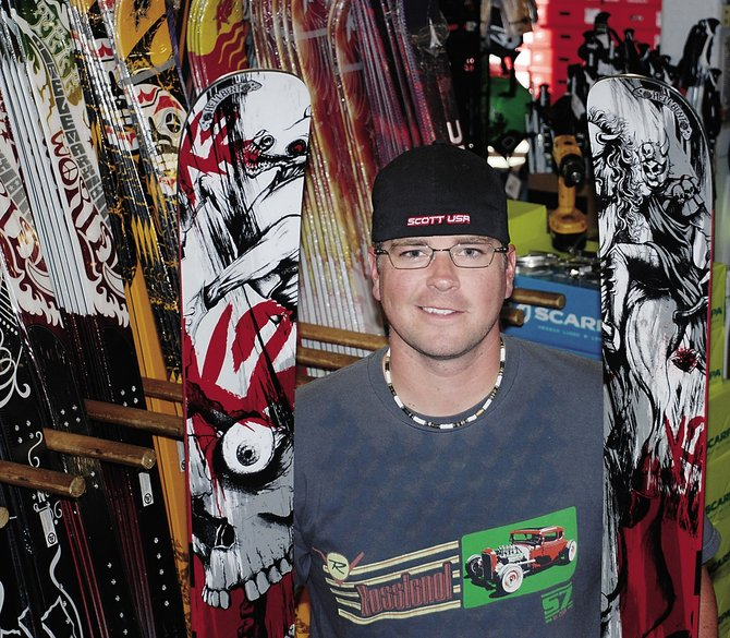 Those aren't snowboards Ski Haus's Doug Steadman is holding. That's one pair of K2 Hell Bent skis. In case you didn't know, they are full rocker.  Trust us.
