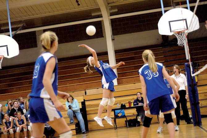 Craig Middle School eighth-grader Jacqueline Murray gets airborne for a spike Thursday against visiting Hayden. The Bulldogs defeated the Tigers, 25-16, 25-16, to end its five-game losing streak.