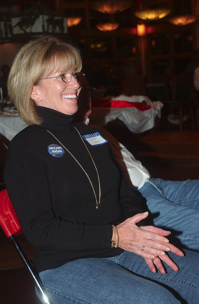 Routt County Republican Robin Somerville reacts to a comment by Republican vice presidential candidate Sarah Palin during a Republican viewing party Thursday night at Storm Mountain Ranch.