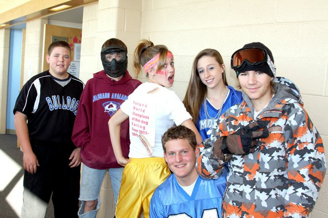 "Pictured on ""dress like your favorite sport"" day are freshmen Ivan Nielson and Jordan Lucke, sophomores Jentry Catoor, Jordan Maneotis and Ty Spencer and junior Jeremiah Gordon."