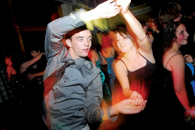 Moffat County High School sophomores Dustin Carlson and Amy Whilden boogie Saturday night at the homecoming dance. The dance, which ran from 9 p.m. to midnight, took place at MCHS.