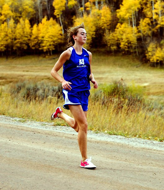Moffat County High Sschool sophomore Maddy Jourgensen races toward the finish line Saturday in Gypsum. Jourgensen placed second in the girls race, finishing the 5,000-meter course in 16 minutes, 43.1 seconds.