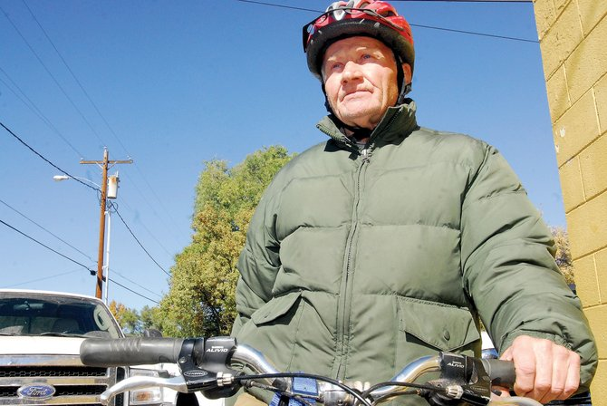 Elliot Bourne, 72, leaves today on a 1,100-mile journey to Lubbock, Texas. Bourne is riding his bicycle - a trip he said should take him about two weeks.