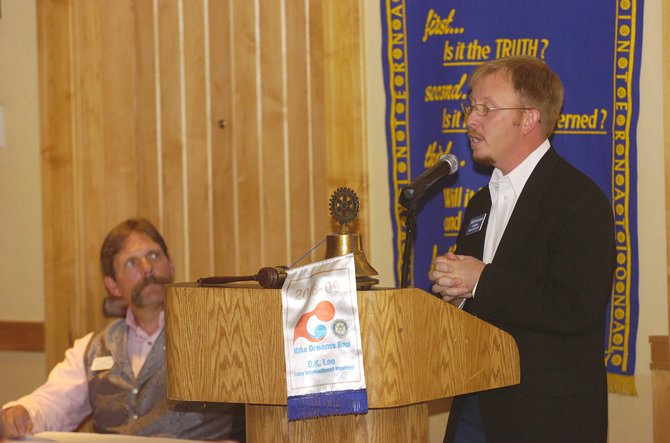 Grand County Republican Randy Baumgardner listens to his House District 57 seat opponent, Phippsburg Democrat Todd Hagenbuch, speak during a forum hosted by the Steamboat Springs Rotary Club on Tuesday at the Steamboat Grand Resort Hotel.